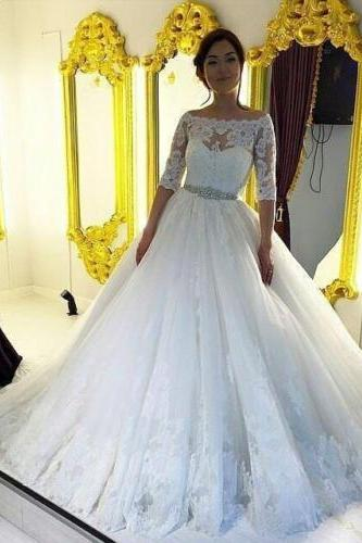 Sexy White/Ivory Long Sleeve Lace Wedding Dress Bridal Gown Size 6 8 10 12 14+++
