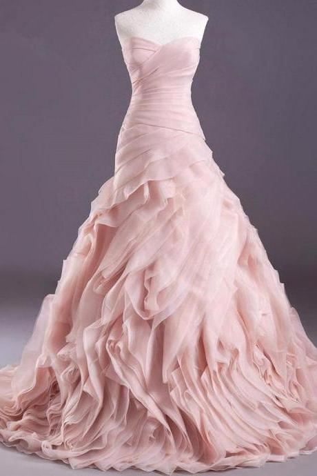 High Quality Real Blush Pink Wedding Dresses 2016 Organza Mermaid Dress