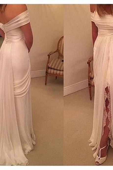 Simple White Off Shoulder Wedding Dresses Front Split Chiffon Summer Bridal Gown